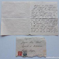 Sellos: 1937 CARTA VALENCIA ZARAGOZA. Lote 180293231