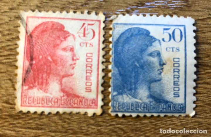 SELLOS SEGUNDA REPUBLICA 45 Y 50 CTS - 1936 (Sellos - España - II República de 1.931 a 1.939 - Usados)