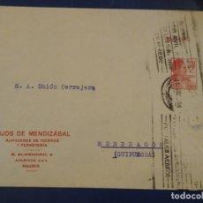 Sellos: SOBRE CON ENTERO POSTAL REPÚBLICA, SELLO IMPRESO. HIJOS DE MENDIZÁBAL. ALMACENES DE HIERROS.. Lote 181315500