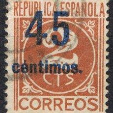 Sellos: [CF2572] ESPAÑA 1938, CIFRAS CON SOBRECARGA, 45 C. SOBRE 2 CS. (U). Lote 194908303
