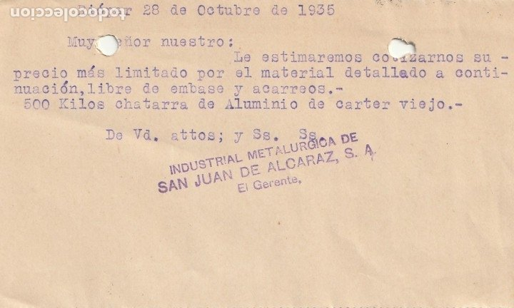 Sellos: TARJETA POSTAL PRIVADA (Conmemoración del III Aniversario de la muerte de Lope de Vega 15 cts)(1935) - Foto 2 - 182003172
