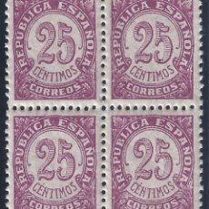 Sellos: EDIFIL 749 CIFRAS 1938 (BLOQUE DE 4). MNH **. Lote 182602800
