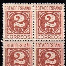 Sellos: EDIFIL 915** 2C CASTAÑO ROJIZO BLOQUE DE 4. Lote 182795093