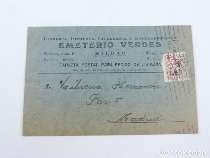TARJETA POSTAL 1932, LIBRERIA EMETERIO VERDES ( BILBAO ) - VITORIA. CIRCULADA CON SELLO DE ALFONSO X (Sellos - España - II República de 1.931 a 1.939 - Cartas)