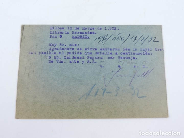 Sellos: TARJETA POSTAL 1932, LIBRERIA EMETERIO VERDES ( BILBAO ) - VITORIA. CIRCULADA CON SELLO DE ALFONSO X - Foto 2 - 182826503