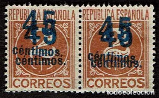ESPAÑA 1938 - EDIFIL 744 DOBLE SOBRECARGA PAREJA (Sellos - España - II República de 1.931 a 1.939 - Nuevos)