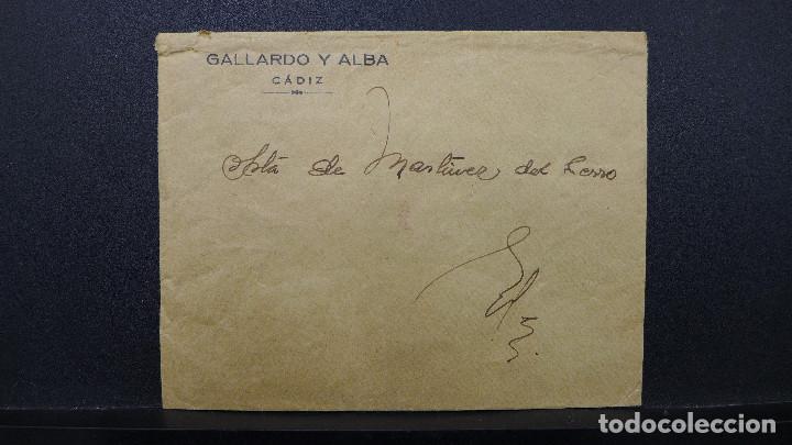CARTA DE CADIZ CON MEMBRETE GALLARDO Y ALBA AL DORSO PUBLICIDAD DE LAS PLAYAS DE CADIZ (Sellos - España - II República de 1.931 a 1.939 - Cartas)