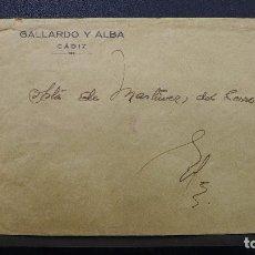 Sellos: CARTA DE CADIZ CON MEMBRETE GALLARDO Y ALBA AL DORSO PUBLICIDAD DE LAS PLAYAS DE CADIZ. Lote 183524898