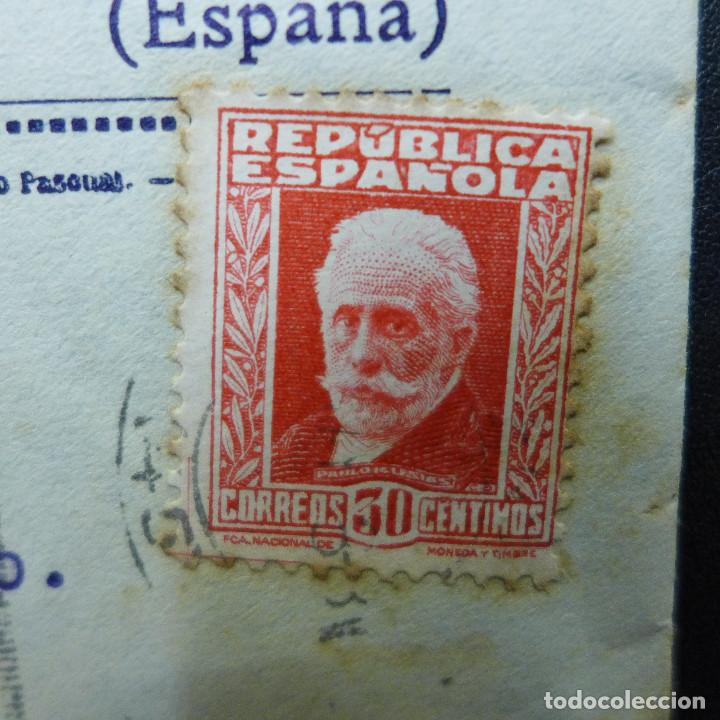 Sellos: CARTA DE VALENCIA A CADIZ CON SELLO DE 30 CTS AÑO 1933 CON MEMBRETE Y CARTA DE JUSTO BURILLO - Foto 3 - 183527417