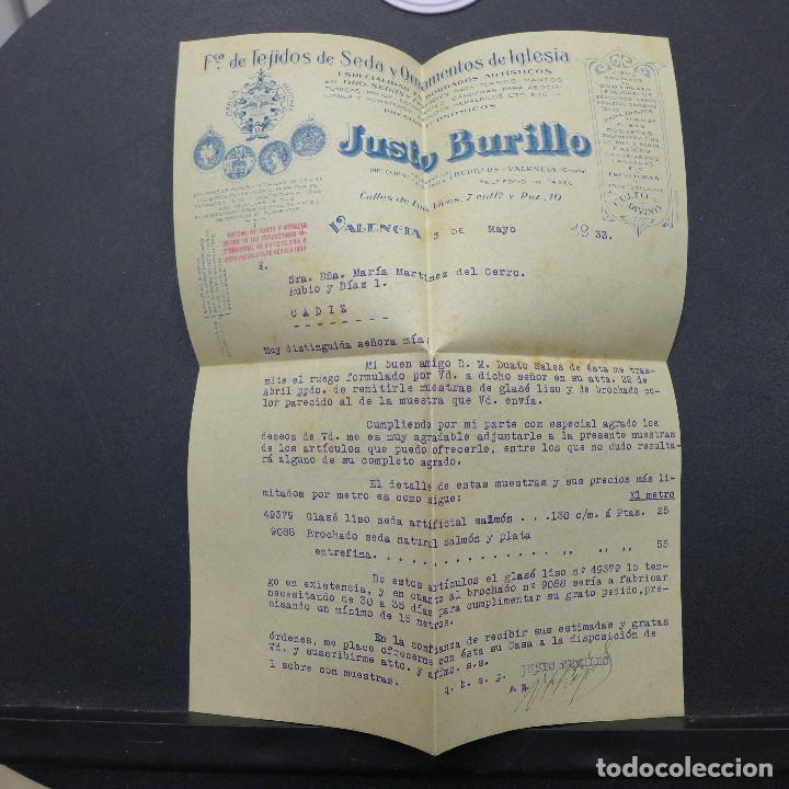 Sellos: CARTA DE VALENCIA A CADIZ CON SELLO DE 30 CTS AÑO 1933 CON MEMBRETE Y CARTA DE JUSTO BURILLO - Foto 6 - 183527417
