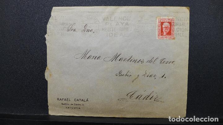 SOBRE VALENCIA A CADIZ AÑO 1933 MEMBRETE RAFAEL CATALA MATASELLOS VALENCIA PLAYA MEDITERRANEA IDEAL (Sellos - España - II República de 1.931 a 1.939 - Cartas)