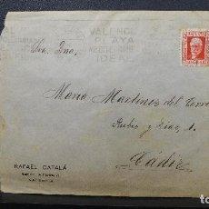 Sellos: SOBRE VALENCIA A CADIZ AÑO 1933 MEMBRETE RAFAEL CATALA MATASELLOS VALENCIA PLAYA MEDITERRANEA IDEAL. Lote 183585011