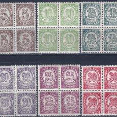 Sellos: EDIFIL 745-750 CIFRAS. 1938 (SERIE COMPLETA EN BLOQUES DE 4). EXCELENTE CENTRADO. MNH **. Lote 184054717