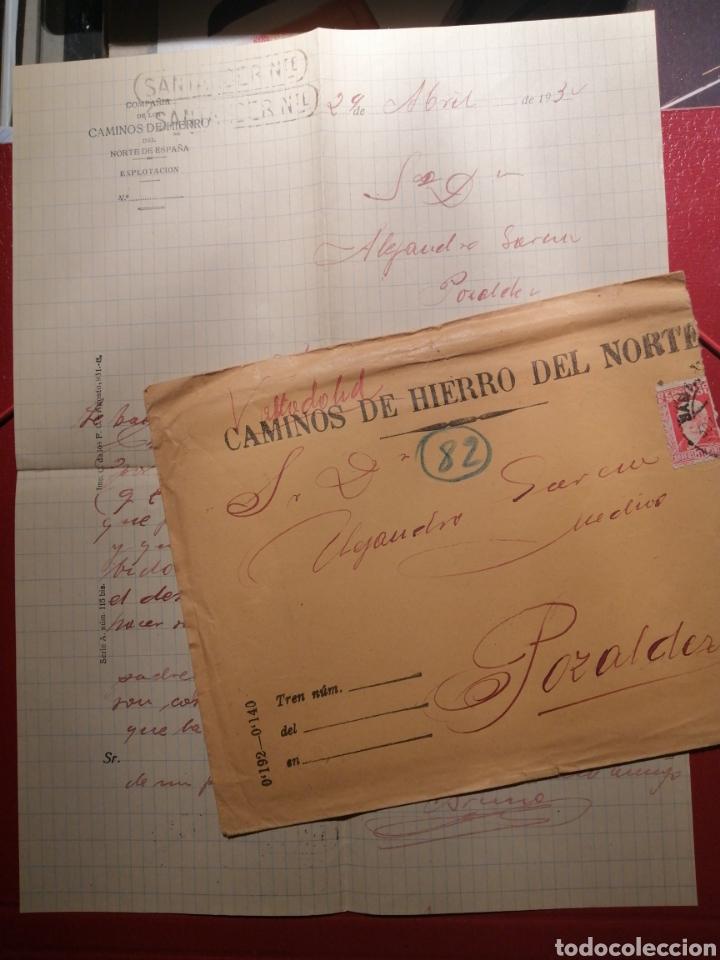 CAMINOS DE HIERRO DEL NORTE AÑOS 30 POZALVEZ VALLADOLID MARCAS CARTUCHO SANTANDER (Sellos - España - II República de 1.931 a 1.939 - Cartas)