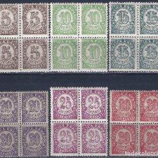 Sellos: EDIFIL 745-750 CIFRAS. 1938 (SERIE COMPLETA EN BLOQUES DE 4) (VARIEDAD...TAMAÑO 20 Y 30 CTS). MNH **. Lote 184826443