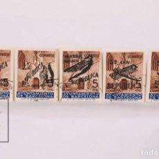Sellos: SELLOS AYUNTAMIENTO DE BARCELONA - V ANIVERSARIO DE LA REPÚBLICA - EDIFIL 17/21 NO EXPEDIDOS - USADO. Lote 184933405