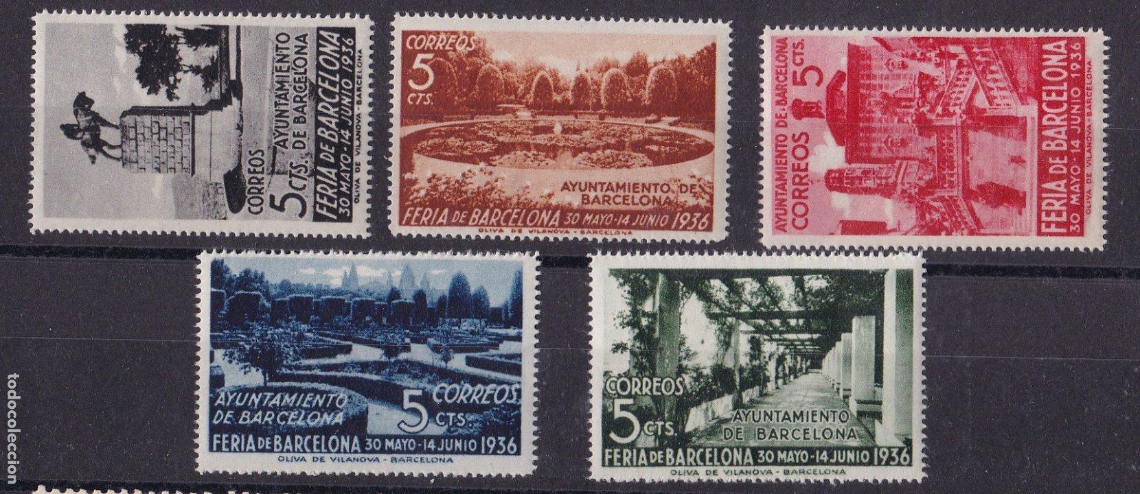 TT21- AYUNTAMIENTO BARCELONA EDIFIL 14 /18 . * * SIN FIJASELLOS .LUJO (Sellos - España - II República de 1.931 a 1.939 - Nuevos)