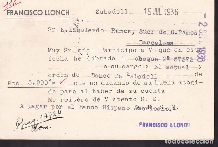 Sellos: F6-52- Entero Postal Sobreimpresión privada FRANCISCO LLONCH Sabadell 15 Julio 1936 - Foto 2 - 186465002