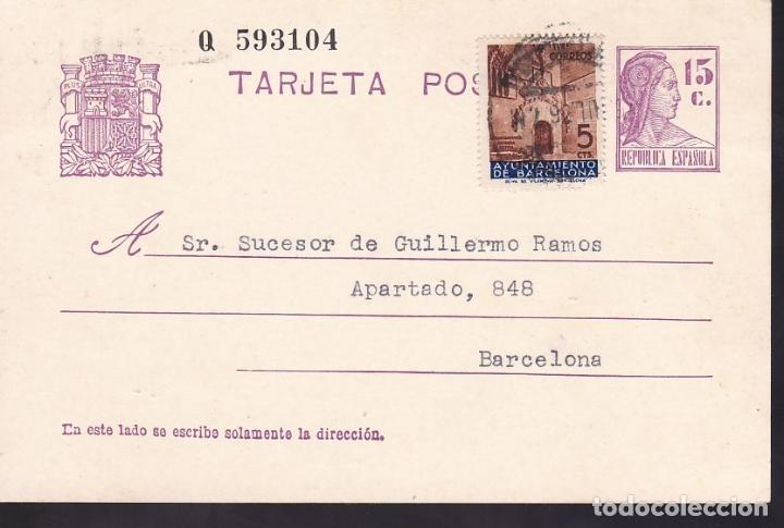 F6-52- ENTERO POSTAL SOBREIMPRESIÓN PRIVADA FRANCISCO LLONCH SABADELL 15 JULIO 1936 (Sellos - España - II República de 1.931 a 1.939 - Cartas)