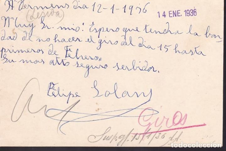 Sellos: F6-54- Entero Postal TERMENS Lérida 1936 - Foto 2 - 186465122