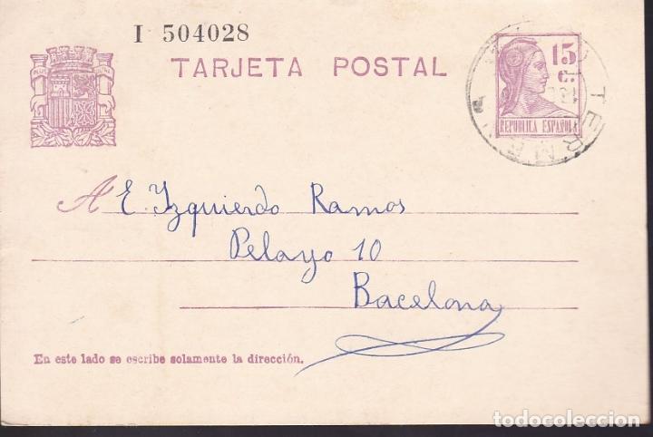F6-54- ENTERO POSTAL TERMENS LÉRIDA 1936 (Sellos - España - II República de 1.931 a 1.939 - Cartas)