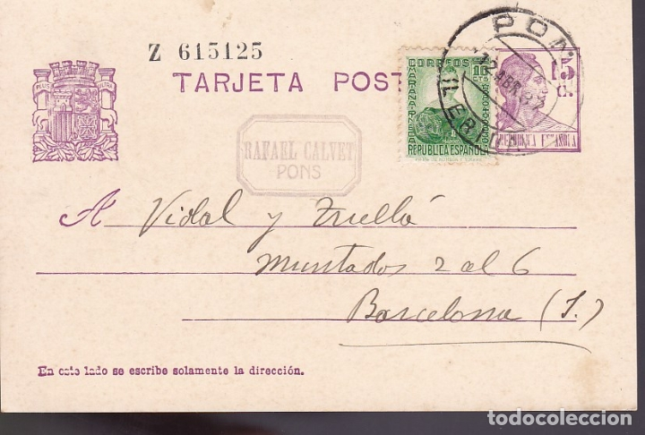 F6-59- ENTERO POSTAL RAFAEL CALVET PONS LÉRIDA (Sellos - España - II República de 1.931 a 1.939 - Cartas)