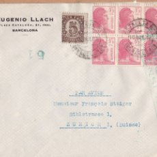 Sellos: F6-69- CARTA EUGENIO LLACH BARCELONA 1938. CENSURA. BLOQUE 6 MATRONA . Lote 186552886