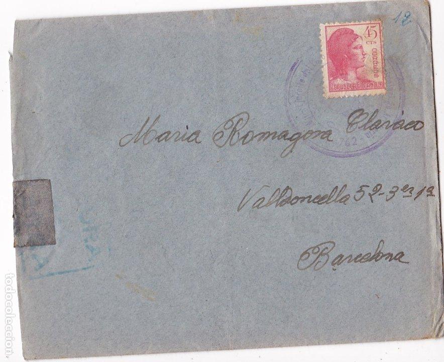 F6-19- GUERRA CIVIL CARTA EJÉRCITO DEL ESTE . ARTILLERÍA GRUPO CAÑONES 7.62 1938. CON TEXTO (Sellos - España - II República de 1.931 a 1.939 - Cartas)