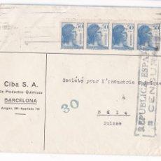 Sellos: F6-79- CARTA LABORATORIOS CIBA S.A. BARCELONA -SUIZA . CENSURA. Lote 186791598