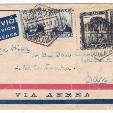 Sellos: F6-81- CARTA CORREO CENTRAL MADRID- COSTA RICA 1933. LUJO. Lote 186806947