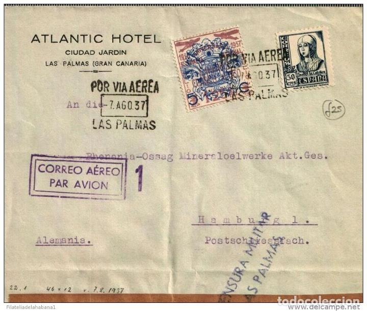 Sellos: F-EX381 SPAIN ESPAÑA OLD 1937 HOTEL ATLANTIC. LAS PALMAS CANARIAS. CENSORSHIP - Foto 1 - 189292688
