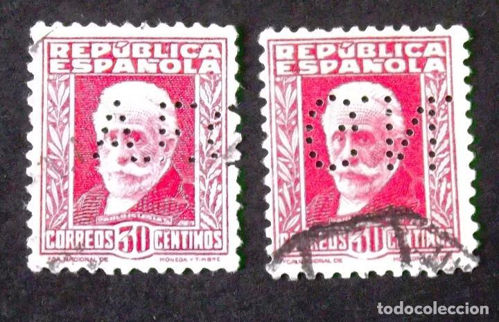 669, DOS SELLOS USADOS PERFORADOS. IGLESIAS. (Sellos - España - II República de 1.931 a 1.939 - Usados)