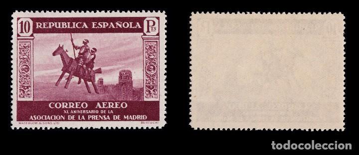 Sellos: II República.1938. XI Aniv. Asc.Prensa.10p MNH.Edifil.725 - Foto 3 - 190634736
