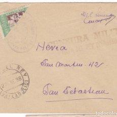 Sellos: F7-12- CARTA NAVA DEL REY (VALLADOLID) 1938. BENÉFICO BISECTADO. FRANQUICIA Y CENSURA . Lote 190886852