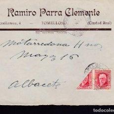 Sellos: F7-14- CARTA RAMIRO PARRA TOMELLOSO (CIUDAD REAL) 1937. PABLO IGLESIAS BISECTADO. . Lote 190886888