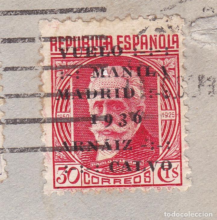 Sellos: F7-18- Carta MADRID- PARIS 1936. Faja CENSURA. Franqueo Vuelo Manila - Madrid - Foto 2 - 190887091