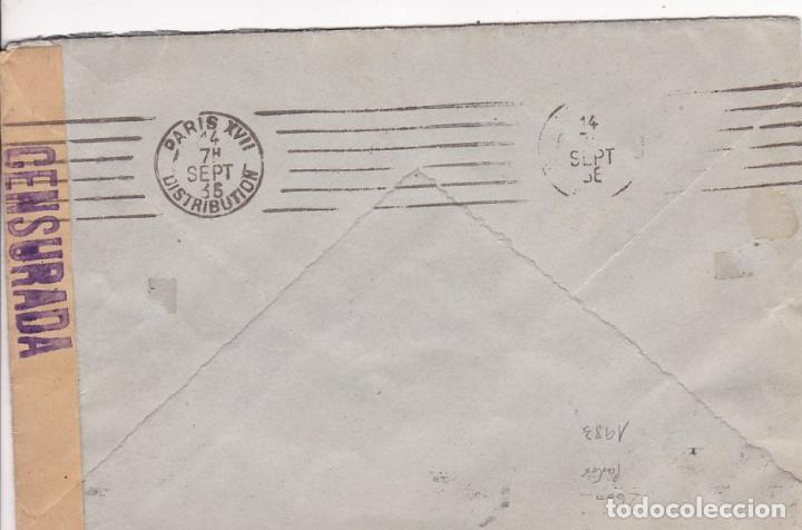 Sellos: F7-18- Carta MADRID- PARIS 1936. Faja CENSURA. Franqueo Vuelo Manila - Madrid - Foto 3 - 190887091