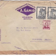 Sellos: F7-20- CARTA LABORATORIOS GÁMIR VALENCIA- FRANCIA 1938. CENSURA. Lote 190888320