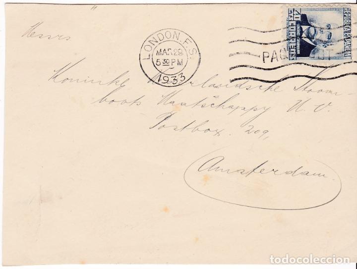 F7-22- FRONTAL REPÚBLICA. MATASELLOS PAQUEBOT LONDON 1933 (Sellos - España - II República de 1.931 a 1.939 - Cartas)