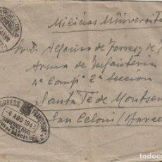 Sellos: SOBRE DE CARTA FRANQUICIA GOBIERNO CIVIL PROVISIONAL DE BARCELONA 1943 DEST MILICIAS UNIVERSITARIAS. Lote 190985940