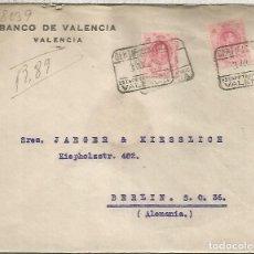 Sellos: VALENCIA ALFONSO XIII CC CERTIFICADA A BERLIN 1923 MAT ESTAFETA DE CAMBIO. Lote 191090771