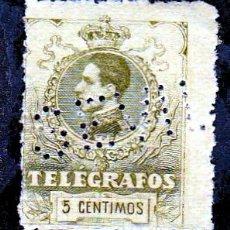 Sellos: ESPAÑA.- TELEGRAFOS Nº 47A 5 CENTIMOS SIN GOMA.-TALADRADO . Lote 191190981