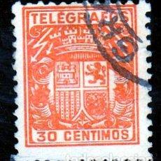 Sellos: ESPAÑA.- TELEGRAFOS Nº 71 DE 30 CENTIMOS MATASELLADO. . Lote 191191345