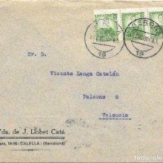 Sellos: II REPUBLICA. EDIFIL 682. SOBRE CIRCULADO DE GERONA A VALENCIA. 12-DIC-35.. Lote 191361802