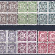 Sellos: EDIFIL 745-750 CIFRAS. 1938 (SERIE COMPLETA EN BLOQUES DE 4). EXCELENTE CENTRADO. MNH **. Lote 191395765