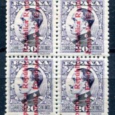 Sellos: EDIFIL 597. 20 CTS ALFONSO XIII SOBRECARGADO, EN BLOQUE DE 4. VER DESCRIPCIÓN. Lote 191412278