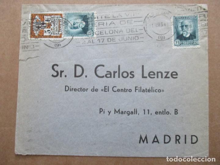 CIRCULADA 1934 DE BARCELONA A MADRID MATASELLO FERIA DE BARCELONA (Sellos - España - II República de 1.931 a 1.939 - Cartas)