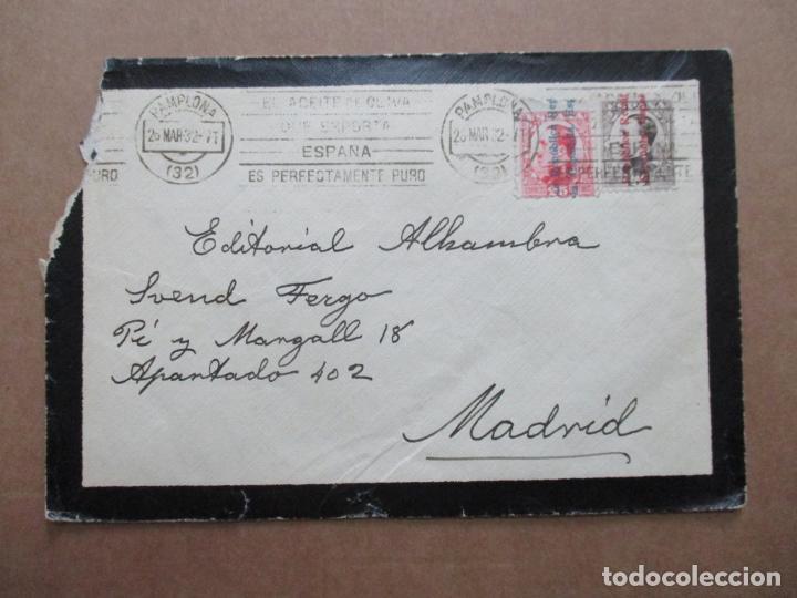 CIRCULADA 1932 DE PAMPLONA A MADRID MATASELLO ACEITE DE OLIVA (Sellos - España - II República de 1.931 a 1.939 - Cartas)