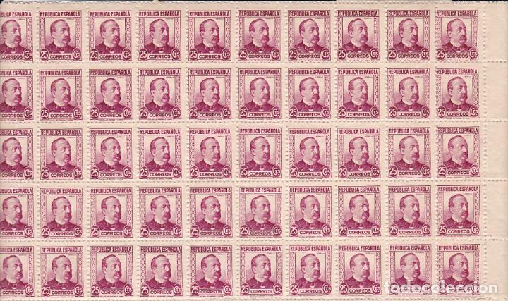 GP18- ZORRILLA EDIFIL 685 BLOQUE 100 SELLOS ** SIN FIJASELLOS.. +175 EUROS (Sellos - España - II República de 1.931 a 1.939 - Nuevos)