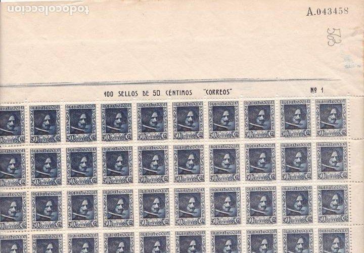 GP19- VELÁZQUEZ EDIFIL 738 HOJA 100 SELLOS PLANCHA 1 ** SIN FIJASELLOS.. .. VARIEDAD (Sellos - España - II República de 1.931 a 1.939 - Nuevos)